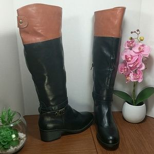 Rampage Black/Cognac Tall Heeled Riding Boots sz 6